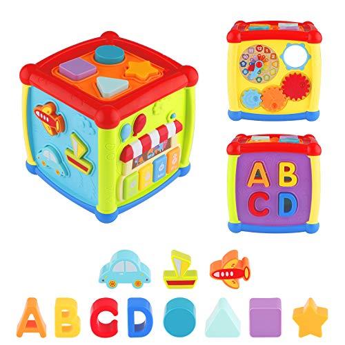 FancyWhoop Música Cubo de Actividades, 6 in 1 Centro de Actividades Juguetes educativos con luz de Sonido de 1 Años Regalo para bebés Niños