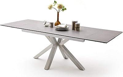 PEGANE Table à Manger Extensible en céramique Gris Clair et Acier brossé - L.160-240 x H.76 x P.90 cm