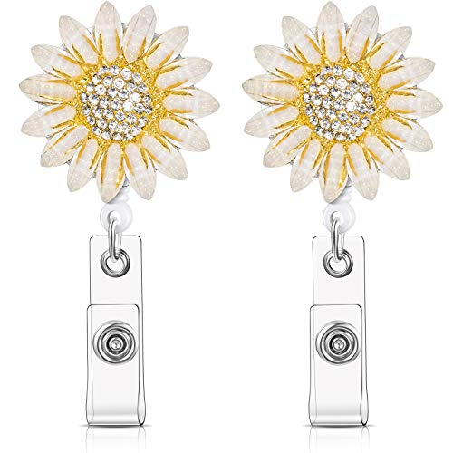 2 Pieces Crystal Rhinestone Sunflower Badge Reel Retractable Badge Clip Name Tag Holder Reel with Alligator Clip Nylon Cord ID Badge Reel On Card Holders for Nurse Teacher Student (Cream and Yellow)
