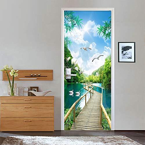 Papel Pintado Puerta 95x215cmPuente de madera bosque lago paisaje Murales Para Puertas 3D Para Papel Pintado Autoadhesivo, Impermeable Papel Pintado Puerta Mural Puertas Pegatinas 3d Para Puertas Vini