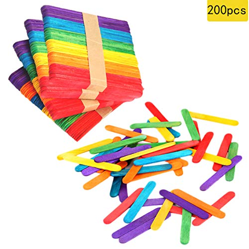 200 PCS Colorful Craft Sticks Natural Wooden 4-1/2' Length Treat Sticks Great...