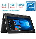 HP Business ProBook x360 11 G3 EE 11.6-inch Touchscreen 2-in-1 Laptop PC, Intel Quad Core Celeron N4100 Up to 2.4GHz, 4GB RAM SDRAM 128GB SSD, USB Type C, HDMI, Webcam, Bluetooth, Windows 10 Pro