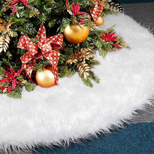 Dreampark Christmas Tree Skirts, 48' White Tree Skirt Decorations Faux Fur Skirt Large Christmas Ornaments Tree Decor (48 inch)