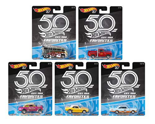 Hot Wheels 2018 50th Anniversary Favorites Series Set of 5 1/64 Scale Diecast Cars
