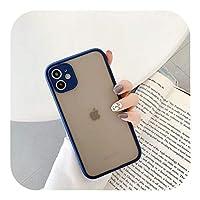 ゲスト For iPhone 12 Mini 11 Pro Max XR XS Max 7 8 PlusXソフトクリアキャンディーカラーフレームバックカバー用カメラプロテクション電話ケース-Blue-For iPhone SE 2020