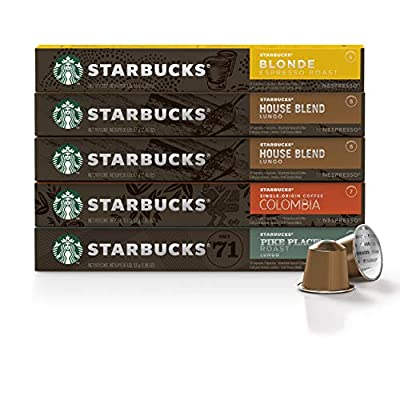 Starbucks by Nespresso, Mild Variety Pack (50-count single serve capsules, 10 of each flavor, compatible with Nespresso Original Line System)