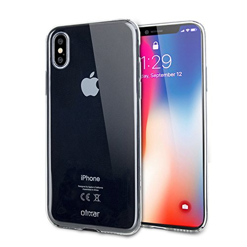 Olixar for iPhone X Clear Case - Silicone Gel TPU Flexible - Ultra Thin - Slim Protection - Wireless Charging Compatible - Shockproof Phone Cover - Crystal Clear