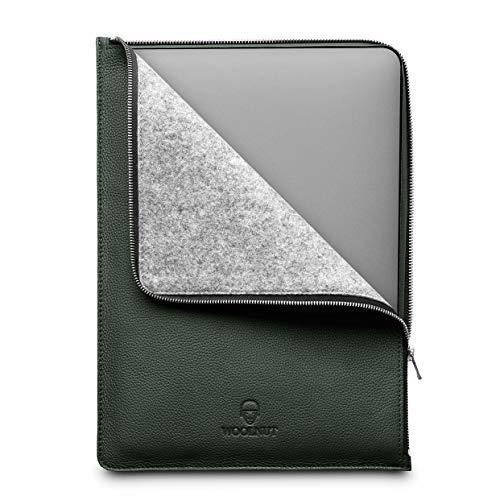 Woolnut Leder Folio Zipper Sleeve Hülle Hülle Tasche für Dell XPS 15 2020 (neues Modell 9500) und MacBook 15 Zoll - Grün