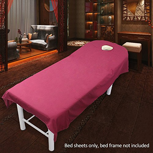 Massage Couch Cover met gezicht gat 9 zuivere kleuren, Beauty Salon Spa Massage Tafellakens Banken Cover Sheets(80x180cm,Rood)