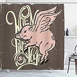 DYCBNESS Duschvorhang,Flügel, wenn Schweine fliegen Zitat typografische Tiere Wildlife Beauty Angry Character Chubby Doodle Comical, Bad Vorhang Wasserdichtes Design,mit Haken 180x180cm