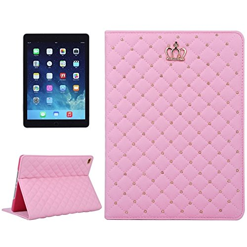 FATEGGS Mobile Phone Accessories Crown Plaid Texture Horizontal Flip Smart Leather Case with Holder for iPad Air 2 / iPad 6 Case Covers (Color : Magenta)
