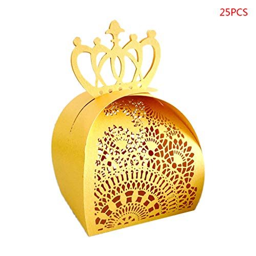 JOYKK 25Pieces / Pack Crown Favors Gifts Candy Boxes Chocolate Shower de Mariage Fournitures de fête de Mariage - Or