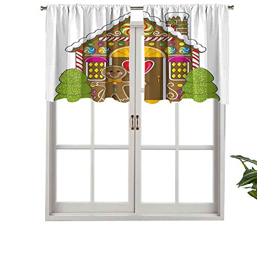 Hiiiman Cortina de ventana con filtro de luz, cenefa de barra, linda casa de jengibre decorada con coloridos caramelos de hombre, juego de 1, 106,7 x 45,7 cm para ventanas de dormitorio, cocina o baño