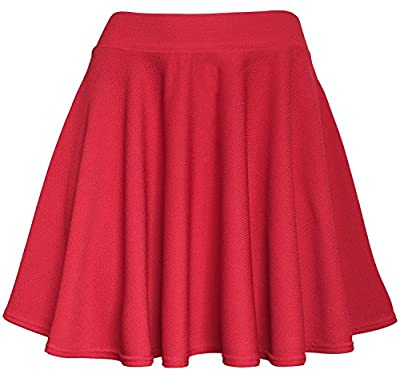 KMystic Womens Basic Versatile Stretchy Flared Skater Skirt
