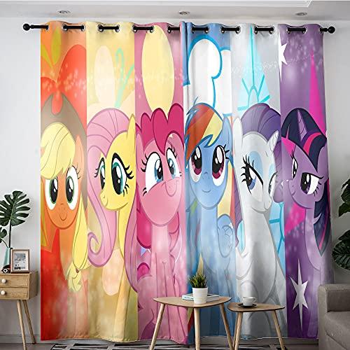 Cortinas aislantes para dormitorios y apartamentos Cartoon My Little Pony Personajes diferentes portadas arte 1 par de paneles de cortina para dormitorio y cocina 42 x 54 pulgadas