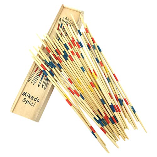 IKevan Wooden Traditional Mikado Spiel Pick Up Sticks with Box, Interactive Game Educational Toy for Kids Boys Girls