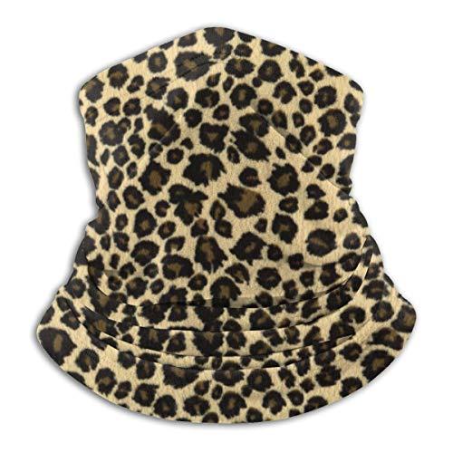 Calentador de Cuello de Microfibra Unisex Pañuelo de Pasamontañas de Leopardo Negro y Dorado Bufanda para Polvo Protección Solar Contra el Viento