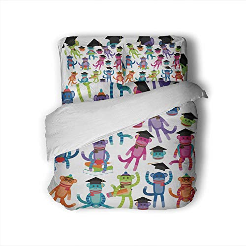 C COABALLA Collection of Brightly Colored School and Graduation Themed Sock Monkeys,Full Size Cotton Sateen Sheet Set - 4 Piece - Supersoft Full