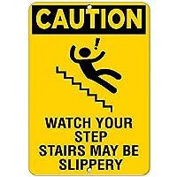 注意あなたの階段が私道の家の柵のために滑りやすい危険であるかもしれないことに注意してくださいレトロな金属錫サインプラークポスター壁の装飾-20x30cm