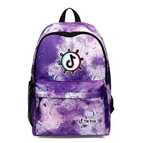 Tiktok Bolso de Hombro Galaxy Mochila Hombres y Mujeres Bolso Estudiante USB Cargando + Auriculares Shake Record Buen Vida-púrpura