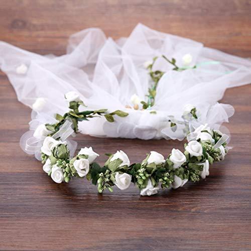 Élégant mariage mariée coiffure guirlande fleur artificielle mariée tête décor plage chapeaux accessoire de cheveux avec voile