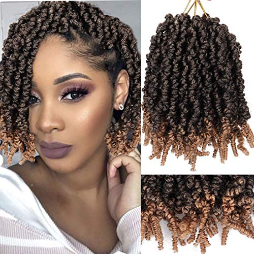 Liyate 3 Packs Pretwisted Spring Twist Crochet Hair Short Curly Spring Twist Hair 8Inch 18 Strands/pack Spring Twists Fluffy Curly Twist Braiding Hair Pre-Twisted Passion Twist Crochet Braids(1B/27#)