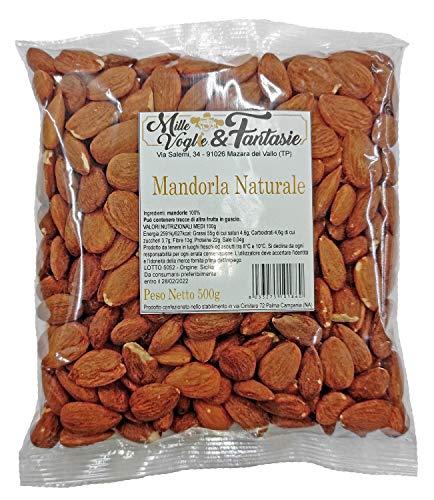 Mandorle Sgusciate Siciliane intere al naturale 1° scelta Frutta secca di alta qualità snack sano e genuino (500 GR)