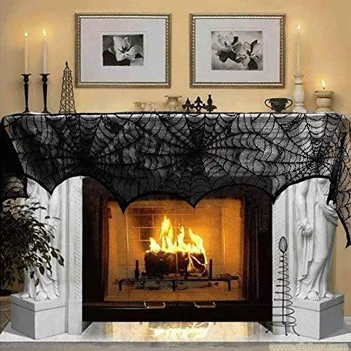 Frmarche Halloween Telaraña Mantel Chimenea Encaje Negro Cubierta de Tela Ventana Spiderweb Halloween Fiesta Decoración 137x183cm