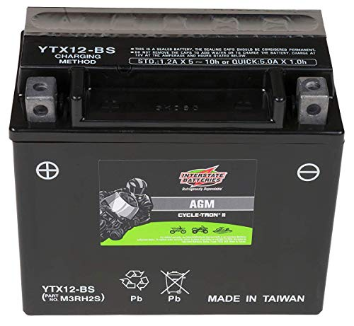 Interstate Batteries CYTX12-BS Cycle-Tron Powersports Battery 12V 10Ah Motorcycle ATV Battery Rechargeable Sealed AGM