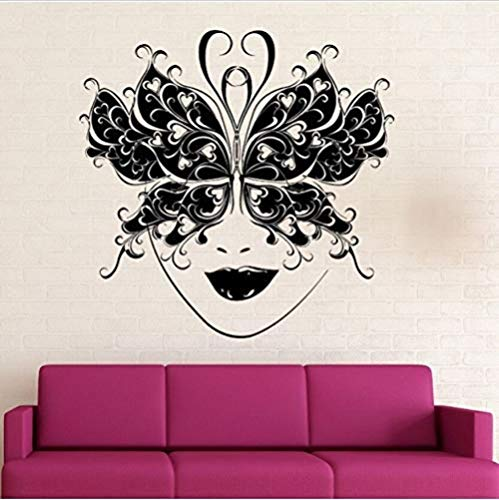 Wandaufkleber,Wandaufkleber Abnehmbare Mode-Maske Wandschmetterling Dekoration Kunst Wandbild Party Wallpaper 57X56Cm