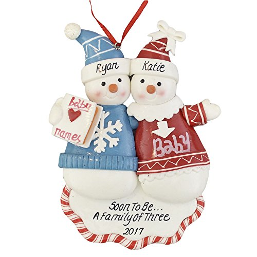 """Calliope Designs A Pregnant Couple Personalized Christmas Ornament Soon to Be A Family of 3-2020 - 5"""" Tall - Free Customization"""
