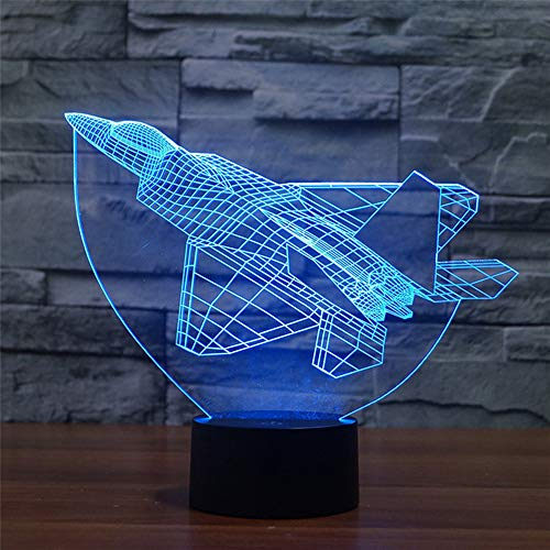 Fighter Jet Plane 3D Illusion Lamp Aircraft Led Night Light, USB Powered 7 Colours Flashing Touch Switch Bedroom Decoration Lighting for Kids Christmas Gift