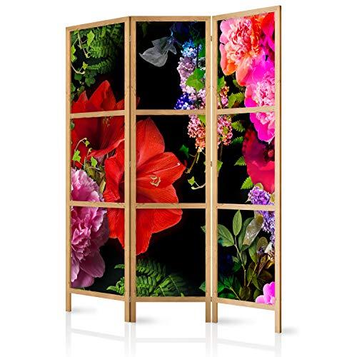 murando - Biombo Flores 135x171 cm 3 Paneles Lienzo de Tejido no Tejido Tela sintética Separador Madera Design de Moda Hecho a Mano Deco Home Office Japón b-A-0491-z-b