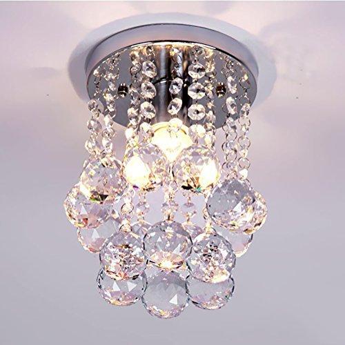 NAVIMC Mini Modern Crystal Chandeliers Rain Drop Pendant Flush Mount Ceiling Light Lamp,Diameter6.29 Height 9 Inch