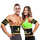Fittest Pro Waist Trimmer Slimming Flex Sauna Belt - Belly, Fat Loss, Weight Loss Belt - Ab Trainer, Back Brace & Abdominal Support (Large : 9' W x 46' L - for Waists Up to 44')
