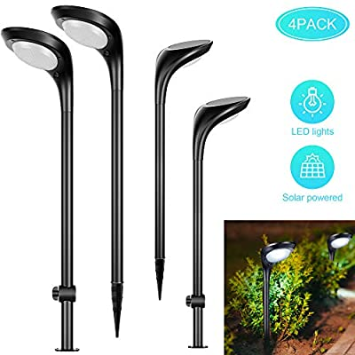 LUNSY Solar Pathway Lights Outdoor, Waterproof 2-in-1 Solar Powered Wall Light with 2 Color Modes Landscape Lighting Auto On/Off Solar Street Lights for Pathway Yard Patio Lawn -4pack