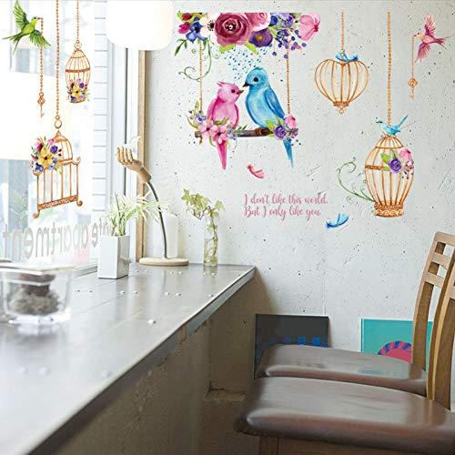 TAOYUE 114 * 64cm groot formaat kleurrijke vogels muur Stickers Birdcage Home Decor voor woonkamer slaapkamer kinderen kamer muur stickers