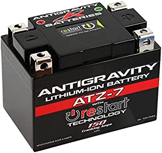 Antigravity ATZ-7-RS Lithium Ion Battery with BMS and Re-Start Technology - 150cca 1.32 Pounds 7Ah Lightweight Motorcycle Battery - Replaces YTZ5S - YTZ7S - YTZ8V - YTX4L-BS - YTX5L-BS - YTX7L-BS