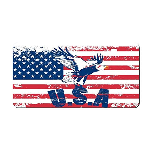 Decorative Car Front License Plate, Eagle And USA Print Vanity Tag,Metal Car Plate,Aluminum Novelty License Plate,6 X 12 Inch