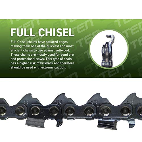 8TEN Chainsaw Chain for Stihl 44 56 36 32 24 40 45 MS 290 260 261 440 460 390 18 inch .063 Gauge .325 Pitch 74DL 3 Pack