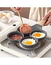 MONLEYTA Sartén para Tortillas de 4 Agujeros, Antiadherente, para Hamburguesas, Huevos, jamón, panqueques, sartenes, Desayuno