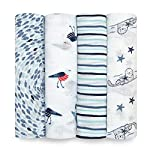 aden + anais Essentials Swaddle Blanket, Muslin Blankets for Girls & Boys, Baby Receiving Swaddles, Newborn Gifts, Infant Shower Items, Toddler Gift, Wearable Swaddling Set, 4 Pack, Flowers Bloom