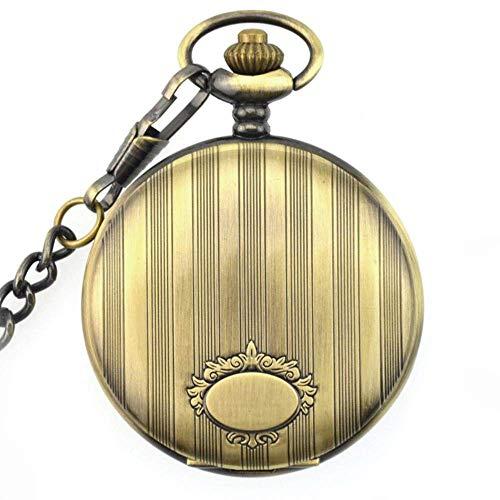J-Love Relojes Unisex con Colgante analógico de Reloj de Bolsillo de Cuarzo de Bronce Vintage con Cadena de Fob