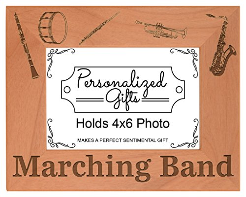 Marching Band Gift School Band Mom or Dad Natural Wood Engraved 4x6 Landscape Picture Frame Wood