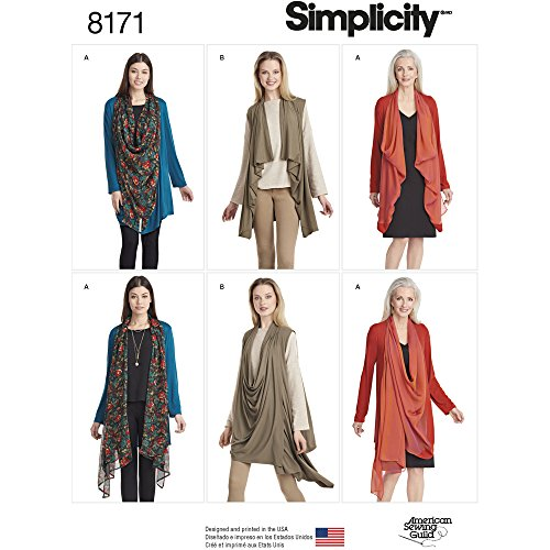 Simplicity patroon 8171 Misses 'Cardigan Knit of vest, wit