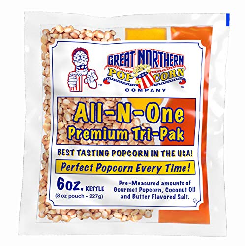 6 oz Popcorn Packs – Pre-Measured, Movie Theater Style, All-in-One Kernel, Salt, Oil Packets for...