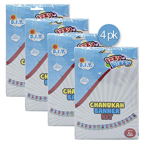 Hanukkah Banner Kit - 4 Pack - Color Your Own Happy Chanuka Sign - 6 Feet Long - Chanukah Arts and Crafts - Gifts and Games - Izzy 'n' Dizzy