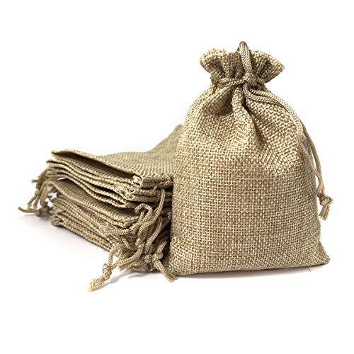 Bolsa de lino 9,5*13,5 cm (25 bolsas) Saquito para regalos, detalles, recuerdos, obsequios, artesanía, bricolaje, joyería, arroz, navidad, eventos, DIY. Bolsitas de tela de saco/arpillera con cordón