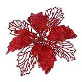 Artibetter 12 Piezas Brillo Artificial Flores de Pascua Flores Corona de Navidad Adornos de Flores de árbol de Navidad (Rojo)