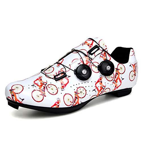 Zapatillas de ciclismo - Zapatillas de bicicleta de carretera de carreras profesionales con autobloqueo para hombre y mujer con tacos SPD Adecuado para ciclismo al aire libre, autoayuda en carretera